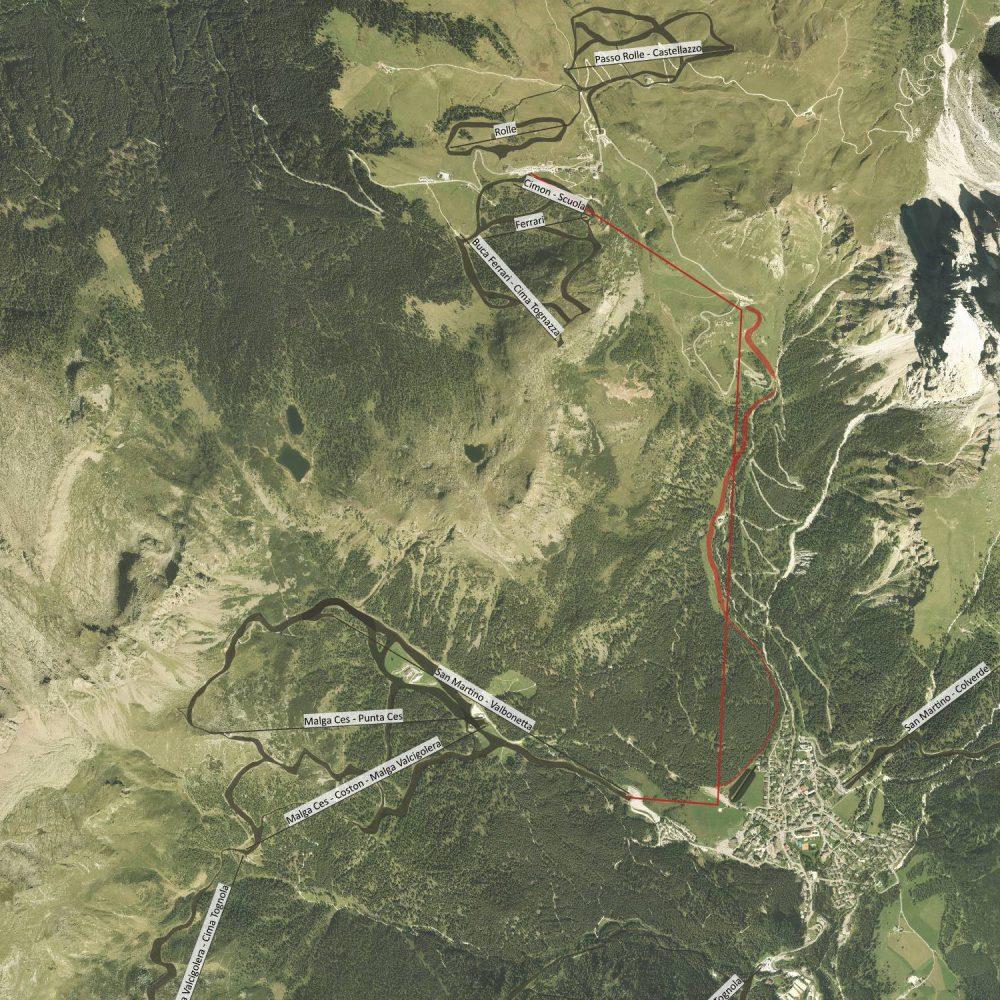 Mobilità complessiva tra San Martino di Castrozza e Passo Rolle